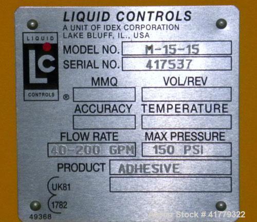 Used- Liquid Controls Group Positive Displacement Meter, Model M-15-15. Flow rate 40-200 gallons per minute, maximumpressur...