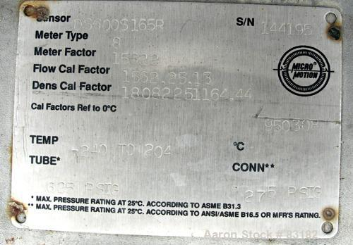 Used- Micro Motion Flow Meter, Model DS600S165R, Type 8, 316L Stainless Steel Product Contact Areas. Flow cal factor 1562.25...
