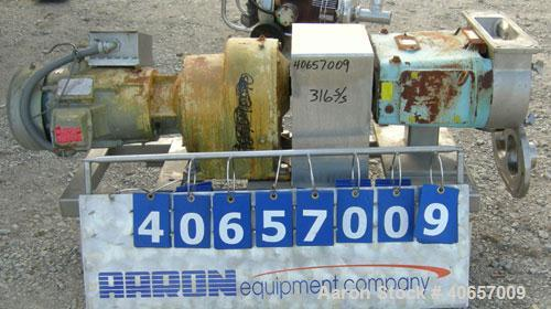 Used- Waukesha Rectangular Flange Universal Rotary Positive Displacement Pumpmodel 224, 316 stainless steel. Approximately 2...