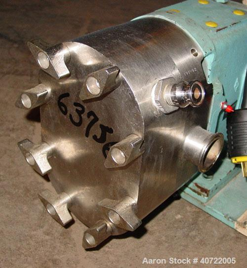Used- Waukesha rotary positive displacement pump, model 30, stainless steel. Approximate capacity 36 gallons per minute at 6...