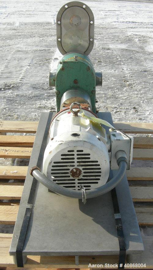 """Used- Tri-Clover Rotary Positive Displacement Pump, 316 stainless steel. Approximately 60 gallons per minute at 20 psi. 3"""" t..."""