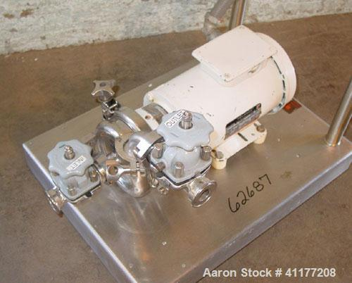 Used- Cherry Burrell Model 4AK-F Flex Flo Stainless Pump. 1 in inlet / outlet, 2 hp, 208-230/460 motor, stainless steel cart.