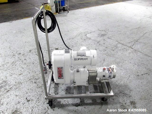 """Used-  Alfa-Laval Rotary Lobe Pump, Type GHPD-322. Stainless steel construction, 1"""" inlet and outlet, with 1.5 hp, 208-230/4..."""