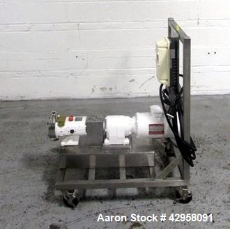 "Used- Alfa-Laval Rotary Lobe Pump, Model SRU1/008/HD. Stainless steel construction, 1.5"" inlet and outlet, with 1 hp, 230/46..."