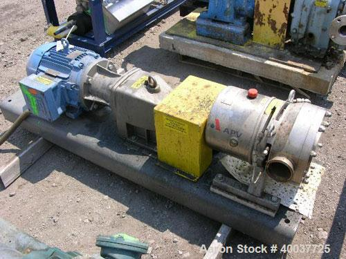 """Used- APV Rotary Lobe Pump, Type DW4/073/10, Stainless Steel. 3"""" Inlet & outlet, rated 19.3 gallons per 100 revolutions at 1..."""