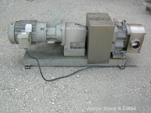 "USED: Fristam positive displacement pump, model FLFN11-130L, 316 stainless steel. 4"" sanitary inlet and outlet. Rated .645 g..."