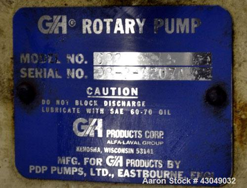 "Used- G&H Products Rotary Positive Displacement Pump, Model GHPD-632, 316 Stainless Steel. 3"" Tri-clamp inlet/outlet. Approx..."