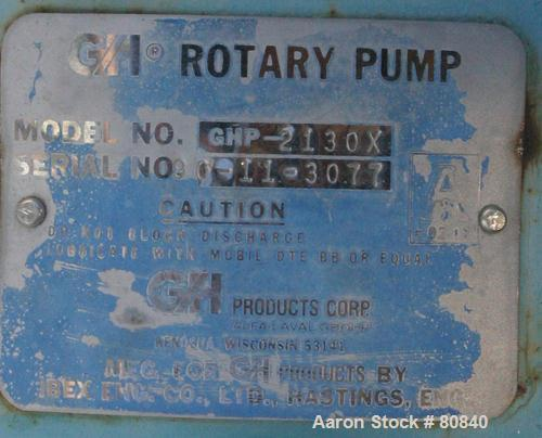 Used- Stainless Steel GH Products Rotary Positive Displacement Pump, Model GHP-2130X