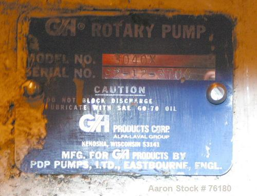"""Used- GH Products Rotary Positive Displacement Pump, Model GHP-3040X, 316 stainless steel. 4"""" tri-clamp inlet/outlet. Approx..."""