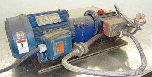 Used- Hydra-Cell Positive Displacement Pump, Model D03EASJSSSCK, 316 Stainless Steel. Maximum flow 2.2 gallons per minute. 1...