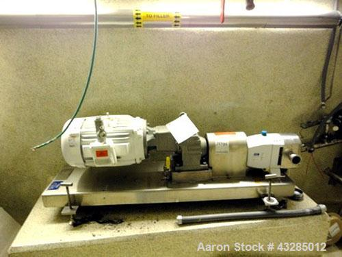 "Used- Jabsco Rotary Lobe Pump, Type Hy-Line, Model LH540-B008, Stainless Steel.2"" Inlet/outelt, rated 12 gallons per 100 rev..."