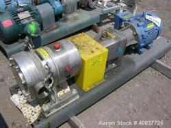 "Used- APV Rotary Lobe Pump, Type DW4/073/10, Stainless Steel. 3"" Inlet & outlet, rated 19.3 gallons per 100 revolutions at 1..."