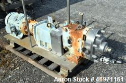 Used- Waukesha Positive Displacement Pump, Model 060UL, Stainless Steel. Approximate displacement 0.153 gallons per revoluti...