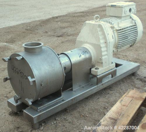 "Used- Sine Ecosine Sanitary Rotary Positive Displacement Pump, model EC40WVVTKS460, 316 stainless steel. 4"" tri-clamp inlet/..."