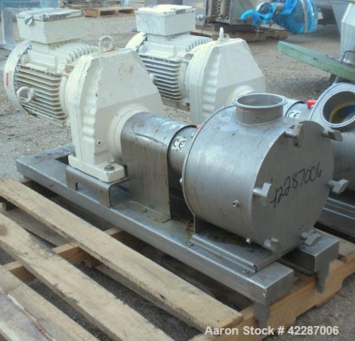 """Used- Sine Ecosine Sanitary Rotary Positive Displacement Pump, model EC40WVVTKS460, 316 stainless steel. 4"""" tri-clamp inlet/..."""