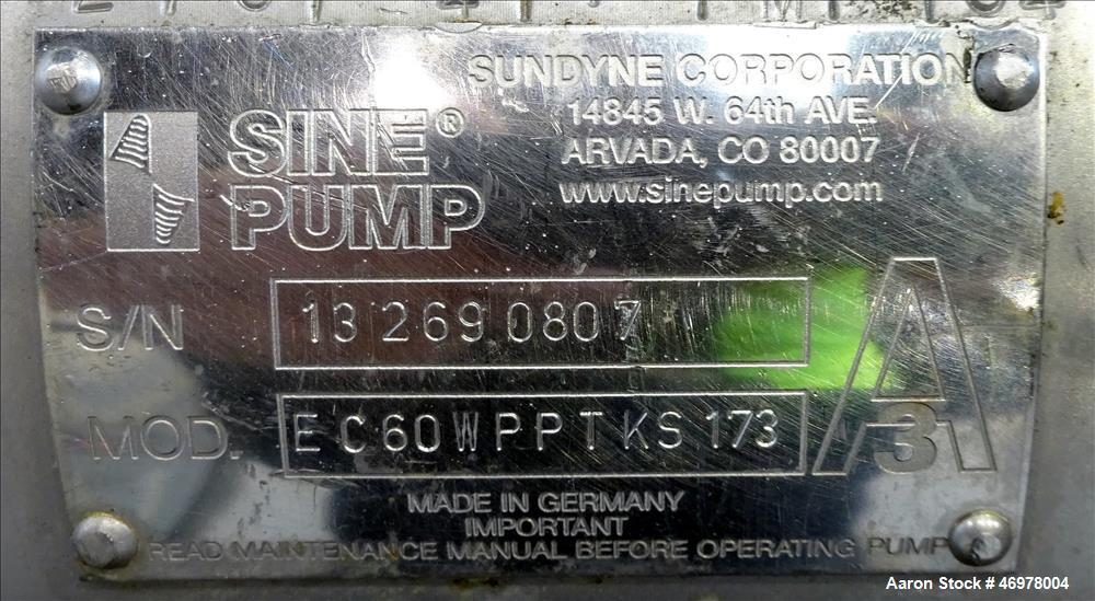 """Used- Sine Ecosine Sanitary Rotary Positive Displacement Pump, Model EC60WPPTKS173, 316 Stainless Steel. 6"""" Tri-clamp inlet/..."""