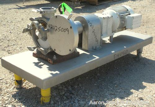 "Used- Sine Rotary Positive Displacement Pump, Model MR-125, 316 Stainless Steel. 2-1/2"" Tri-clamp inlet/outlet. (1) Single r..."