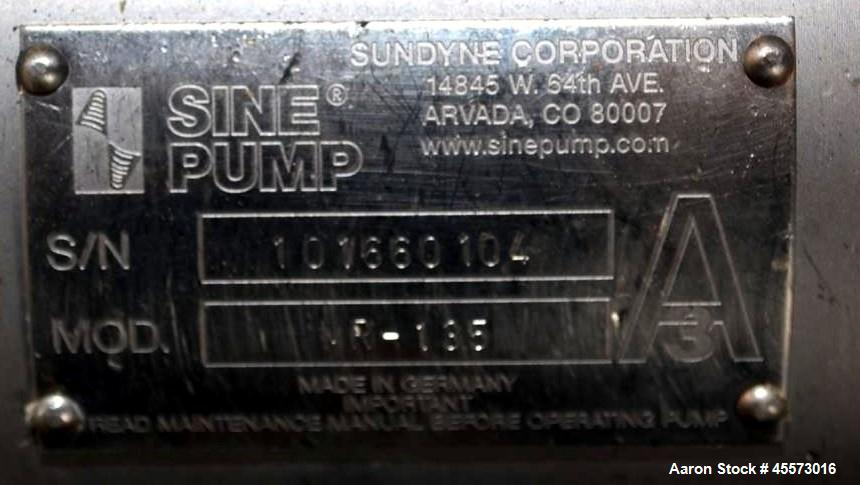 Used- Sine Stainless Steel Centrifugal Pump, MR135