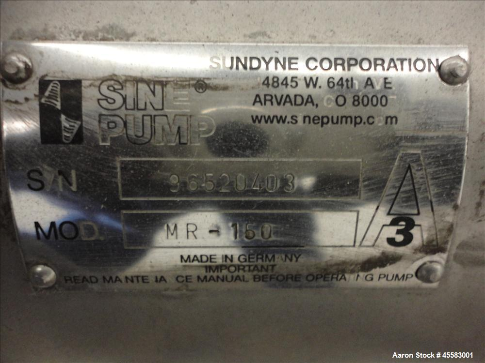 Used- Stainless Steel Sine Sanitary Rotary Positive Displacement Pump