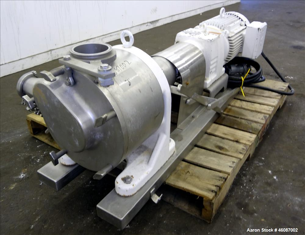 Used- Sundyne Sine Sanitary Rotary Positive Displacement Pump, Model MR-150, 316 Stainless Steel. Approximately 282 gallons ...