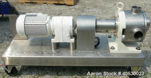 """Used- Sine Rotary Positive Displacement Pump, Model MR135-NNTC, 316 stainless steel. 3"""" tri clamp inlet/outlet. (1) Single r..."""