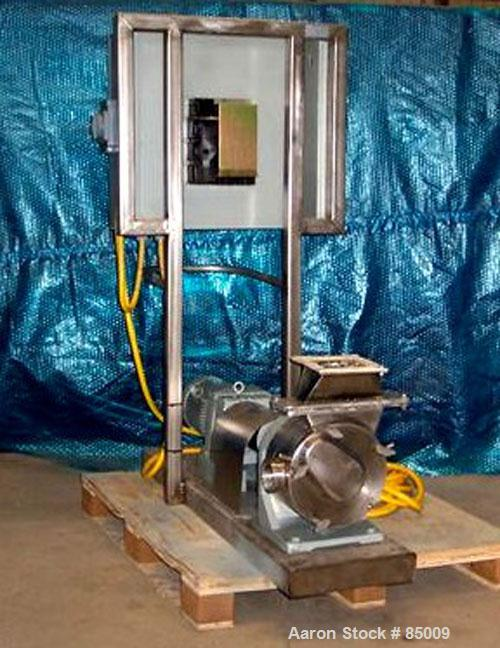 """Used- Sine Sanitary Rotary Positive Displacement Pump, Model MR135NNRBS, 316 stainless steel. 2"""" x 9"""" rectangular flange inl..."""