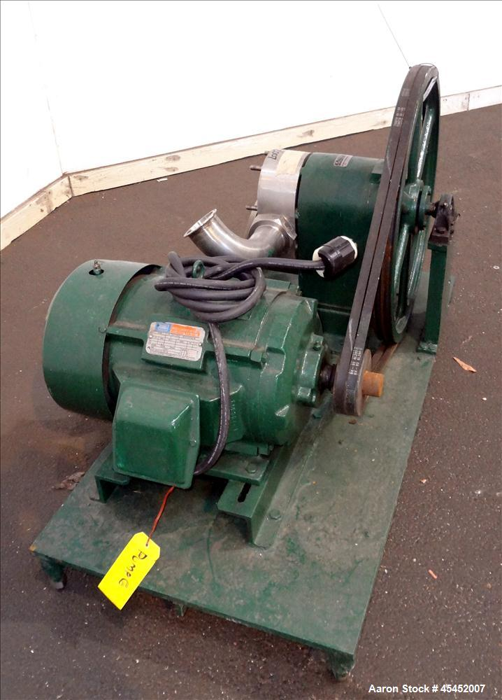 Used- Stainless Steel Tri-Clover PR Series Positive Rotary Pump, Model PR125-3-U