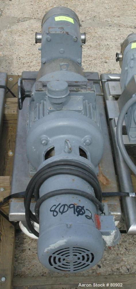 Used: Stainless Steel Tri Clover rotary positive displacement pump, model PR125-3M-UC4-ST-S