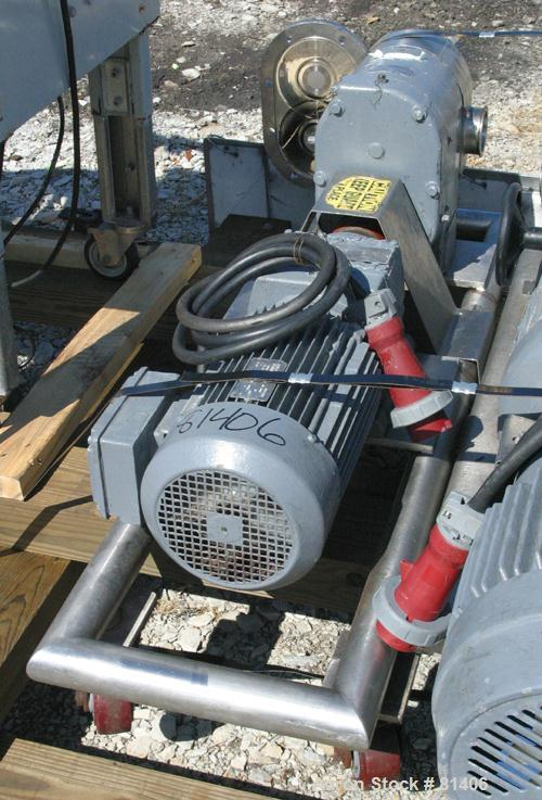 USED: Tri Clover rotary positive displacement pump, model PR125-50M-UC4-SL-S, 316 stainless steel. Approximately 120 gallons...