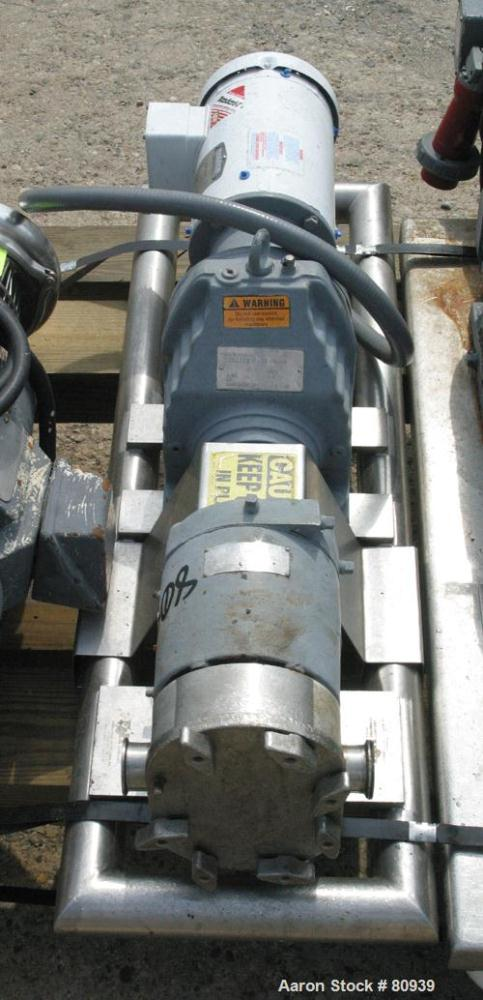 USED: Tri Clover rotary positive displacement pump, model PR25-112M- UH4-S, 316 stainless steel. Approximately 28 gallons pe...