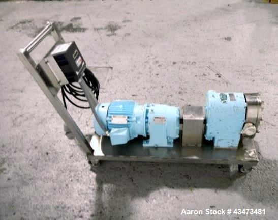 Used- Tri-Clover Rotary Lobe Pump, Model PR60-2M-TC1-4-SL-S. Serial# T3733J.