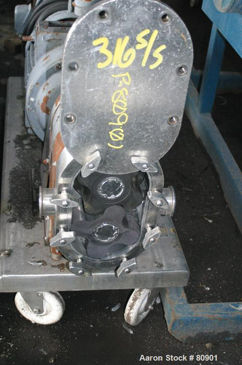 Used: Stainless Steel Tri Clover rotary positive displacement pump, model PR60-2M-UH4-SL-S