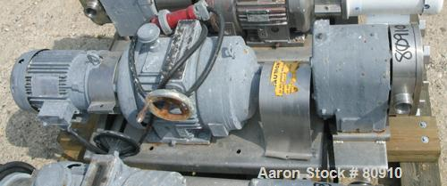 USED: Tri Clover rotary positive displacement pump, model PR60-2M-UH4-SL-S, 316 stainless steel. Approximately 60 gallons pe...