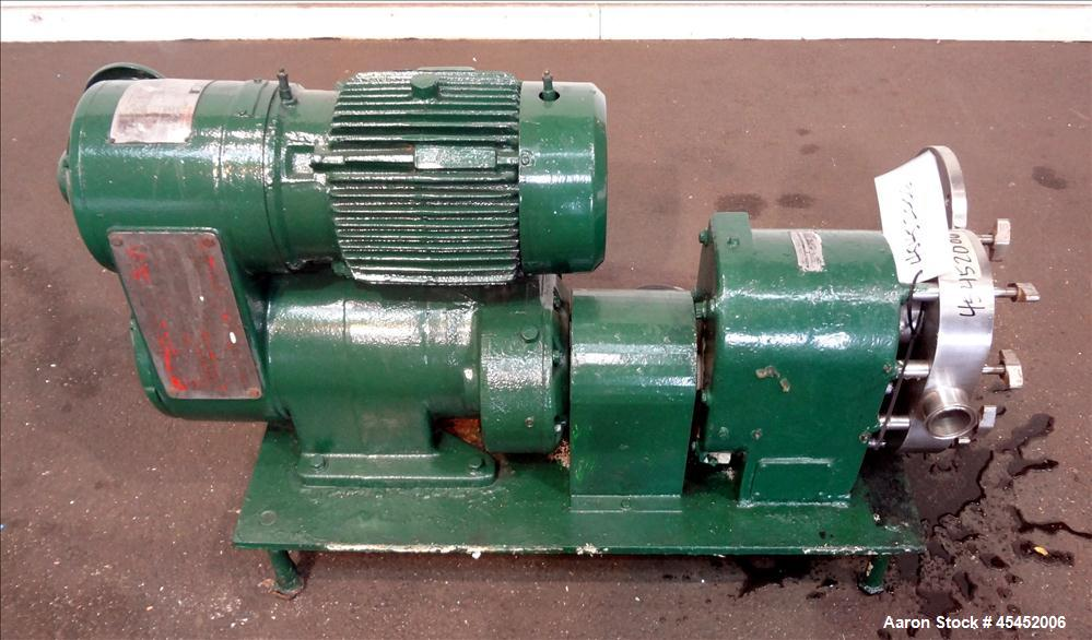 Used-Stainless Steel Tri-Clover PR Series Positive Rotary Pump, Model PRE60-ZM-U