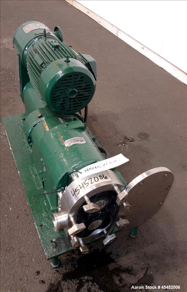 Used-Stainless Steel Tri-Clover PR Series Positive Rotary Pump, Model PRE60-ZM-U
