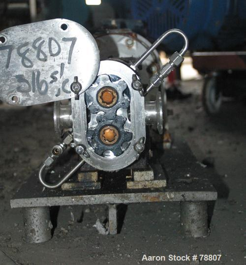 Used- Stainless Steel Tri Clover Rotary Positive Displacement Pump, Model PRRED3-1M-VC6-SL-S