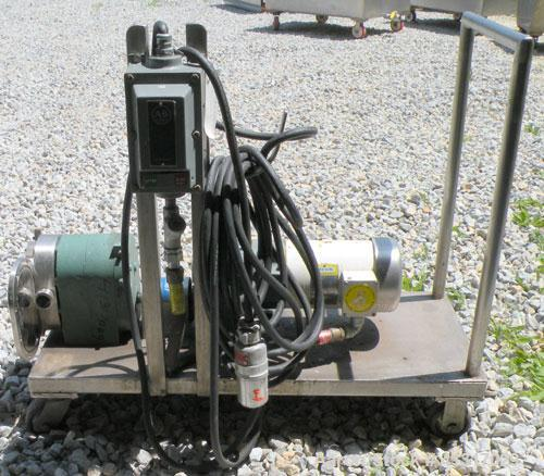 "Used- Tri-Clover Positive Displacement Pump, 316 Stainless Steel Housing. 1 1/2"" tri-clamp inlet/outlet. Rubber rotors. Driv..."