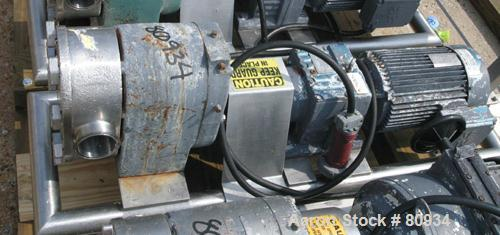 "USED:Tri Clover rotary positive displacement pump, 316 stainless steel. 3-1/2"" tri-clamp inlet/outlet. (2) 4 lobe rubber rot..."