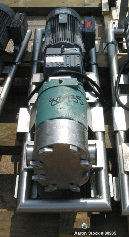 """USED:Tri Clover rotary positive displacement pump, 316 stainless steel. 3-1/2"""" tri-clamp inlet/outlet. (2) 4 lobe rubber rot..."""