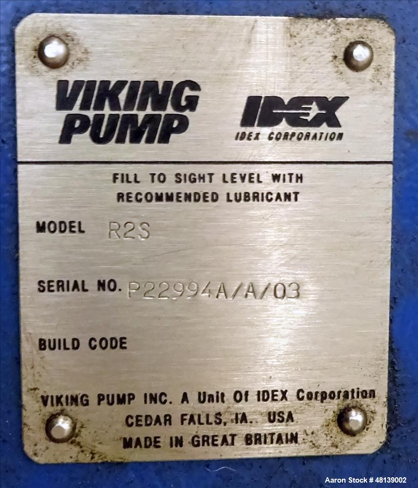 Used- Viking Duralobe Bi-Rotor Positive Displacement Pump, Model R2S, 316 Stainless Steel. Approximate 26 gallons per minute...