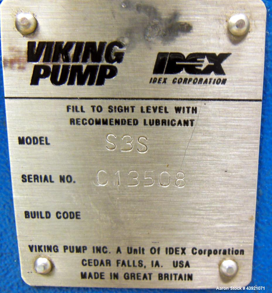 Used- Stainless Steel Viking Duralobe Positive Displacement Pump, Model S3S