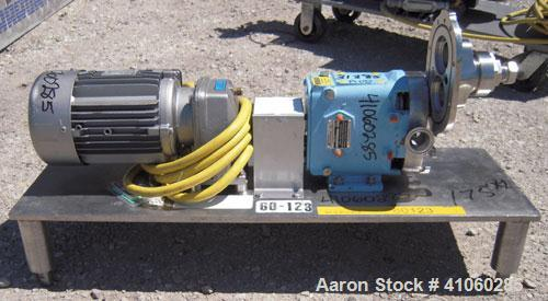 Used- Waukesha Rotary Positive   Displacement  Pump, Model 006, 316 Stainless Steel. Approximately 6 gallons per minute at 2...