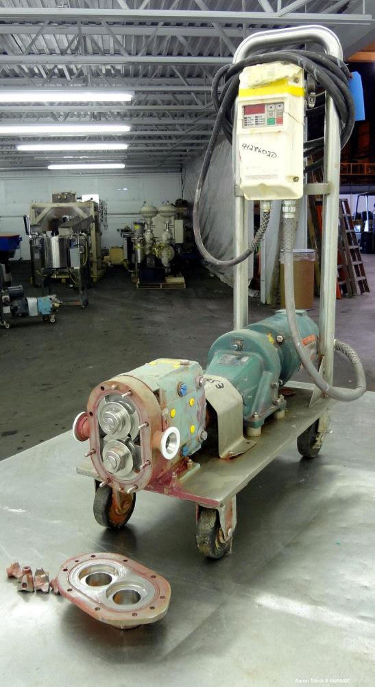 Used- Stainless Steel Waukesha Rotary Positive Displacement Pump, Model 006