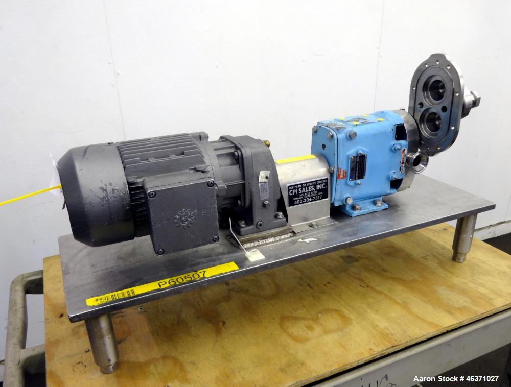 Used- Waukesha Rotary Positive Displacement Pump, Model 006, 316 Stainless Steel. Approximately 6 gallons per minute at 200 ...