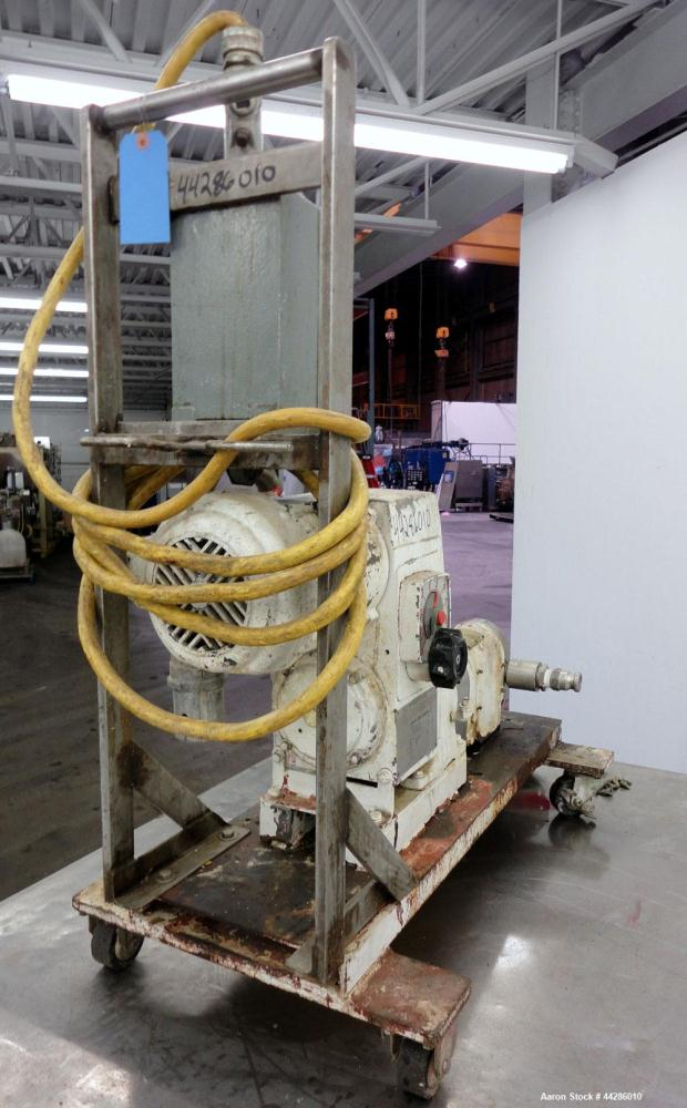 Used- Stainless Steel Waukesha Sanitary Rotary Positive Displacement Pump, Model 10