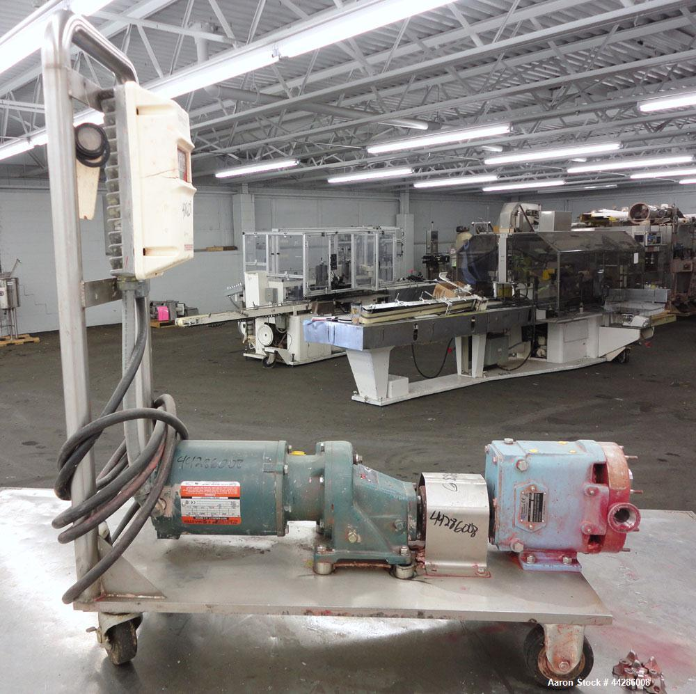Used- Waukesha Rotary Positive Displacement Pump, Model 015, 316 Stainless Steel. Approximately 10 gallons per minute at 100...