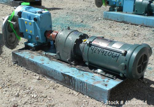 Used- Waukesha Rotary Positive Displacement Pump, Model 030/U2, 316 Stainless Steel. Approximately 36 gallons per minute at ...