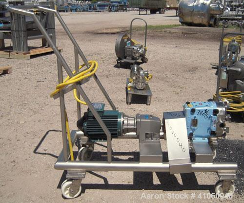 Used- Waukesha Rotary Positive Displacement Pump, Model 030, 316 Stainless Steel. Approximately 36 gallons per minute at 100...