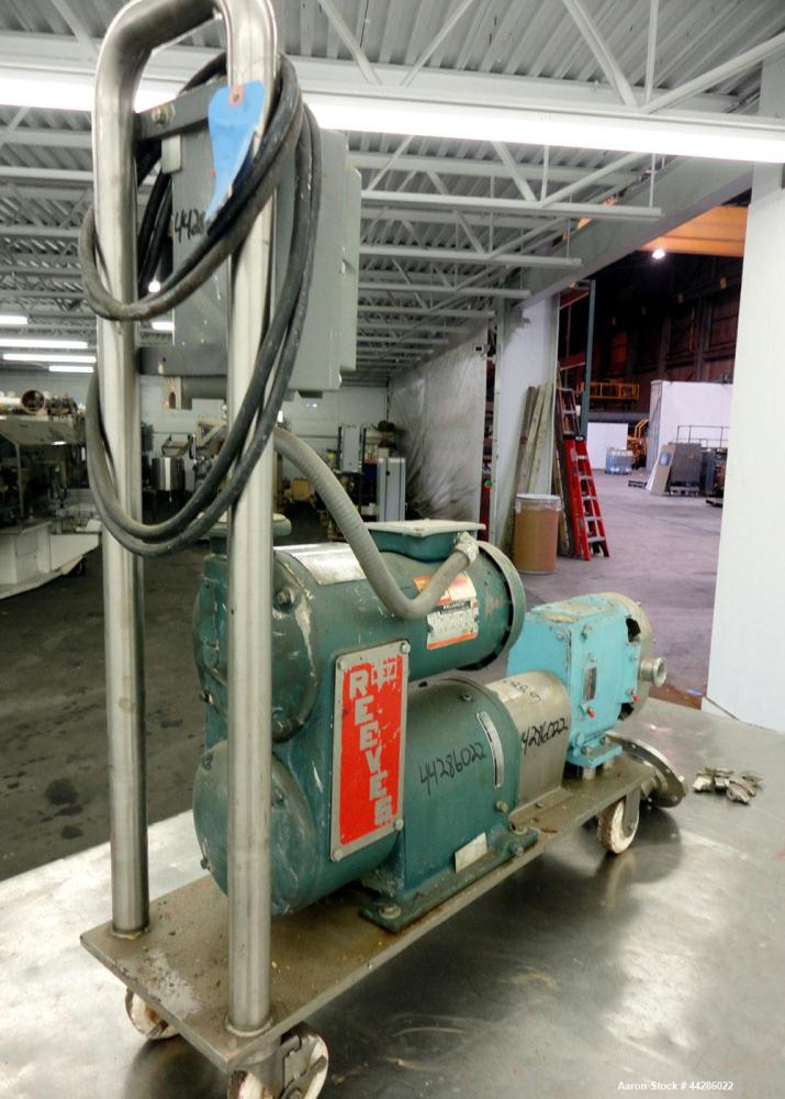 Used- Waukesha Rotary Positive Displacement Pump, Model 30, 316 Stainless Steel. Approximately 36 gallons per minute at 100 ...