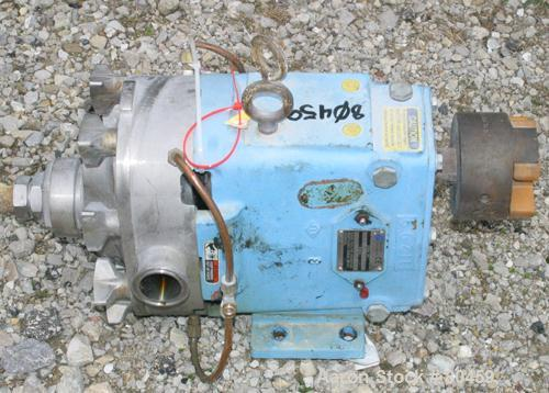 Used- Stainless Steel Waukesha Rotary Positive Displacement Pump, Model 030